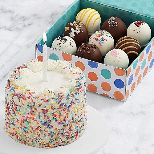 Shari's Berries - Petite Birthday Cake & 9 Birthday Cake Truffles - 10 Count - Gourmet Baked Good Gifts