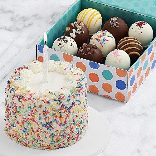 Shari's Berries - Petite Birthday Cake & 9 Birthday Cake Truffles - 10 Count - Gourmet Baked Good Gifts