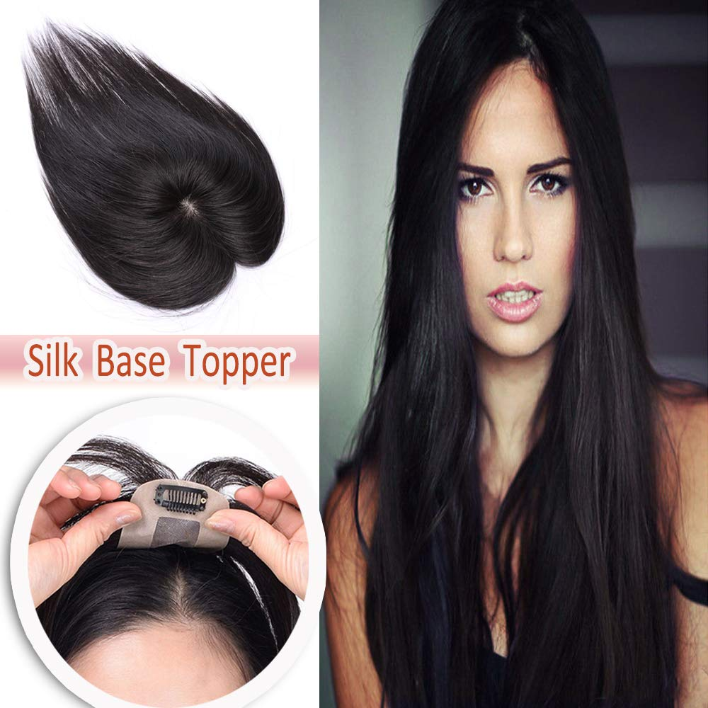 Hairro Human Hair Clip on Toppers for Women Silk Base Thin Small Clip in Top Hairpiece Natural Crown Toupee for Thinning Hair #1B Natural Black