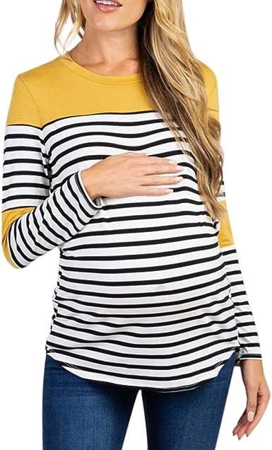 Mitlfuny Otoño Primavera Lactancia de Maternidad Camisa Ropa Premamá Mujer Blusa Manga Larga Raya Cosiendo Sudadera Embarazadas EnfermeríA Tops Algodón Embarazo Pijama Camisetas: Amazon.es: Ropa y accesorios