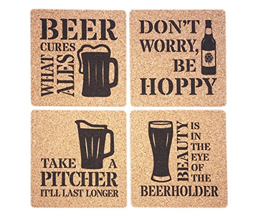 Beer Lover Coaster Set - Beer Puns Gift for Beer Lovers - Cures What Ales - Be Hoppy - Beerholder - Take A Pitcher