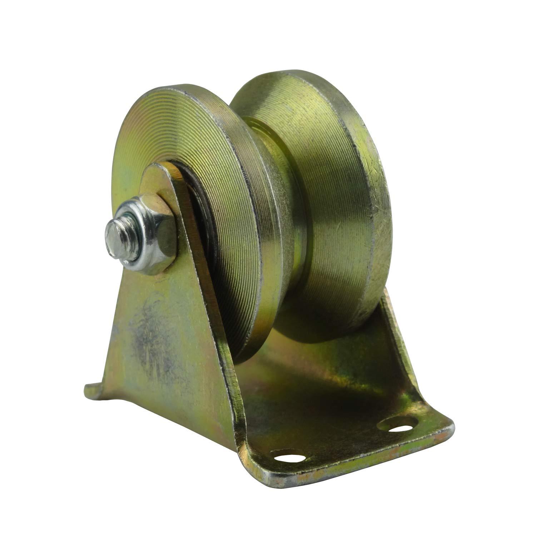 Hanperal Groove Rigid Caster Wheel, Steel Track Wheel with Bracket(200kg Load)