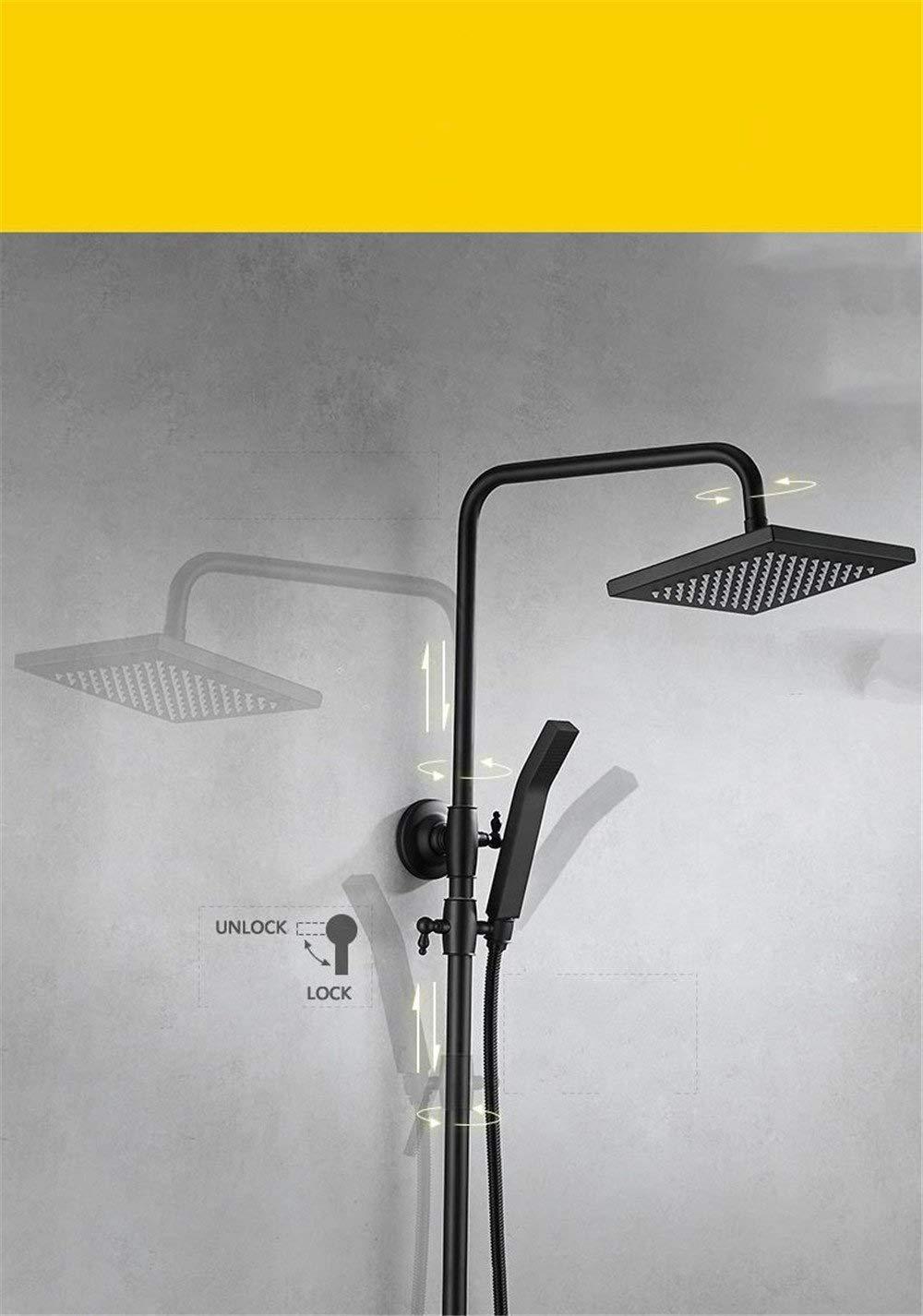 CYHY Faucet Baño Cascada Mezclador Grifo Fregadero The Copper Black Rainfall Tap Faucet Perpendicular a la Pared Montado en la Mano Hand Frosted Black Bathroom Shower Shower Grifos de lavabo