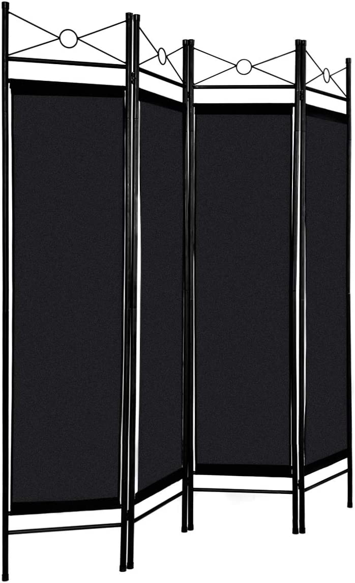 HAPPYGRILL Room Divider, 4 Panel Folding Freestanding Privacy Screen with Steel Frame Fabric Surface for Home or Office Black