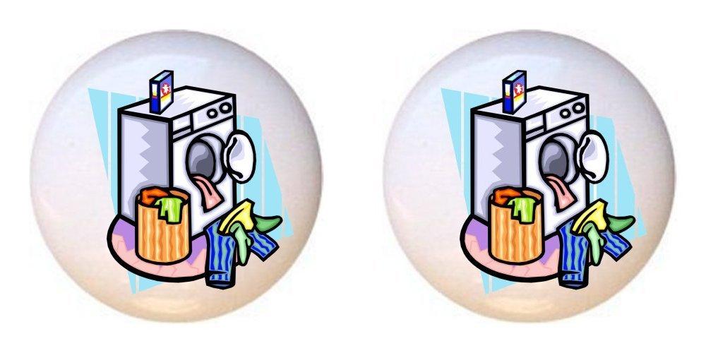 SET OF 2 KNOBS - Design #180734 Wash Machine Basket - Laundry Room - DECORATIVE Glossy CERAMIC Cupboard Cabinet PULLS Dresser Drawer KNOBS
