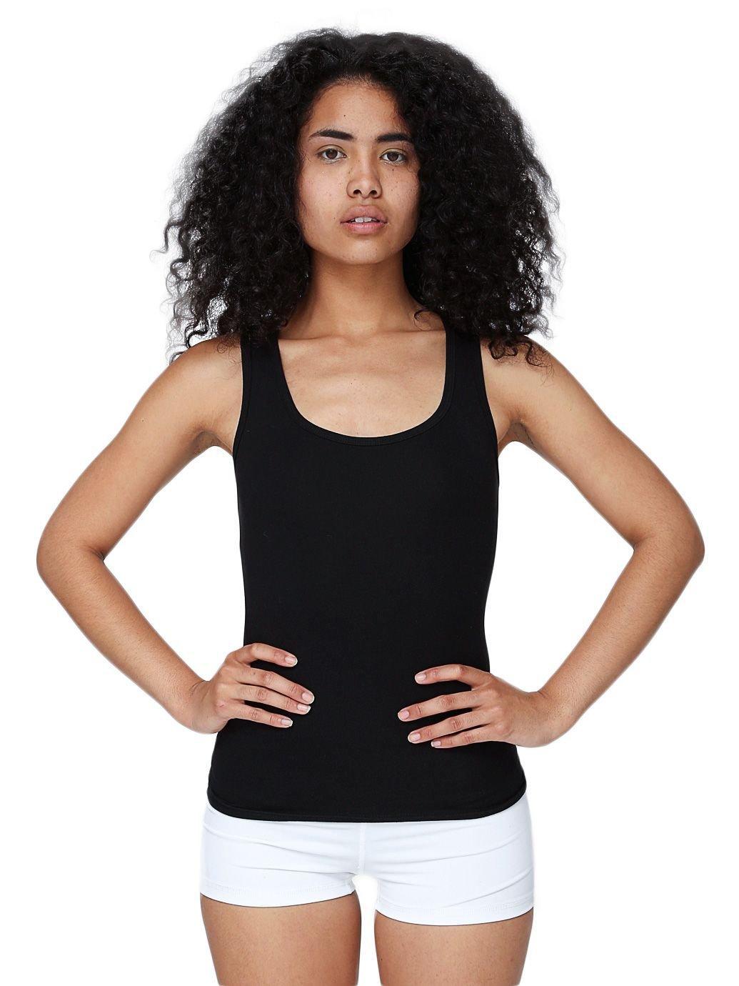 American Apparel Women's Cotton Spandex Tank Top Size M Black