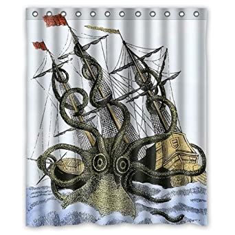 Amazon Kraken Huge Octopus Attack Merchantman Ship Background Waterproof Shower Curtain Bath Size 60 X 72 Clothing