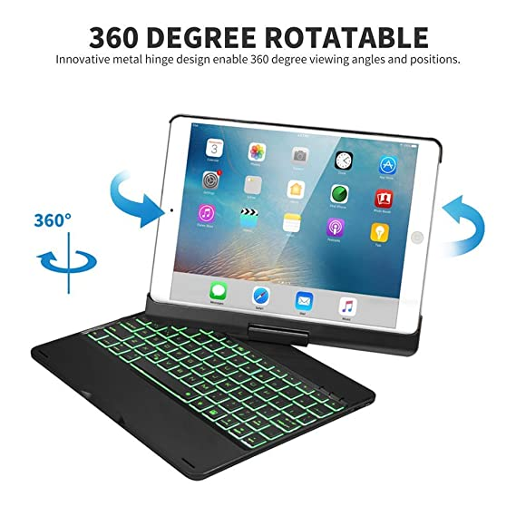 SENGBIRCH Funda con Teclado iPad 9.7 2018-iPad 9.7 2017-iPad Air 2-iPad Air-iPad Pro 9.7, 7 Colores Bluetooth Inalámbrico Retroiluminado-360 ...
