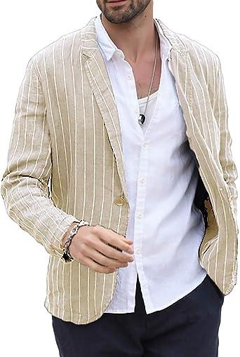 Mens Linen Blazer Striped Casual