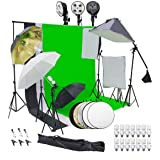 Wisamic Photography Video Studio Lighting Kit, Background Support System 10ft x 6.6ft/2MX3M with 3 Color Backdrop, 3…