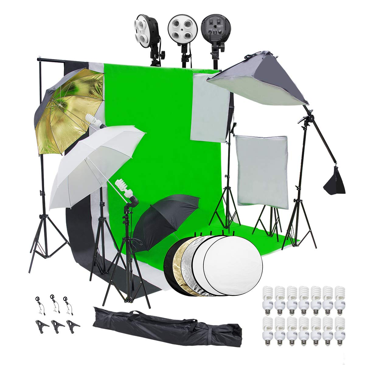 Wisamic Photography Video Studio Lighting Kit, Background Support System 10ft x 6.6ft/2MX3M with 3 Color Backdrop, 3 Umbrella, 3 Softbox, Continuous Lighting Kit for Photo Video Shooting Photography by Wisamic (Image #1)