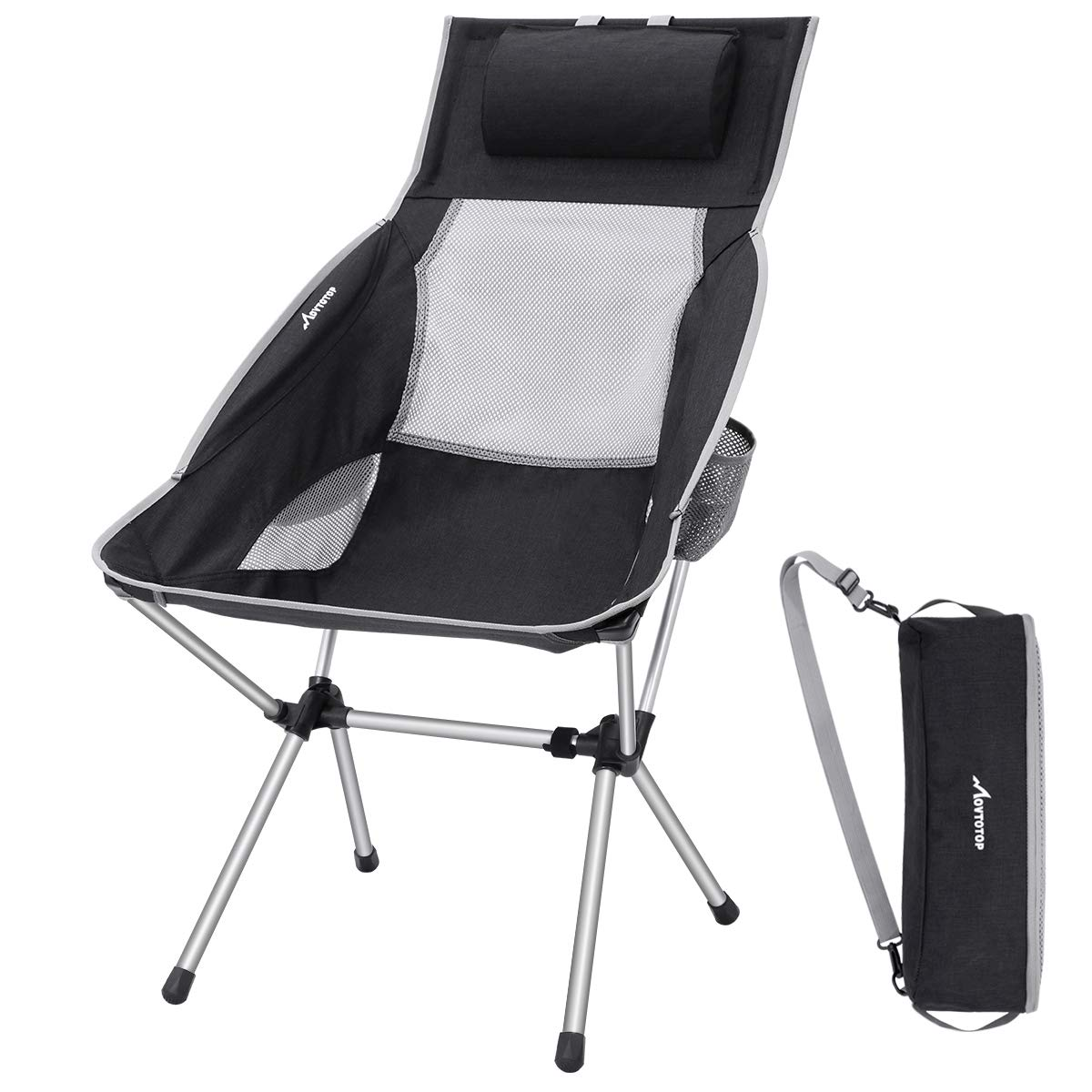 MOVTOTOP Silla de Camping Plegable con reposacabezas, sillas ...
