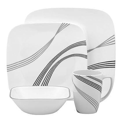 Corelle Square Urban Arc 16-Piece Dinnerware Set Service for 4  sc 1 st  Amazon.com & Amazon.com   Corelle Square Urban Arc 16-Piece Dinnerware Set ...