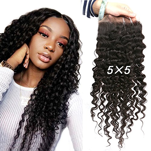 Greatremy 5×5 Lace Closure Curly Wave Brazilian Human Hair with Baby Hair Free Part Natural Color 14inch Review