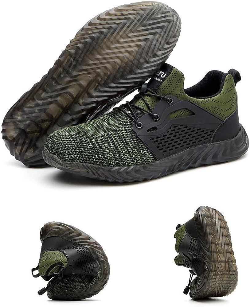 Chaussure de Securit/é Homme Femme Bottes Travail Chantiers Industrie Sneakers Protection Embout en Acier Basket de Sports Trekking Legere Noir Vert Gris EU35-EU48