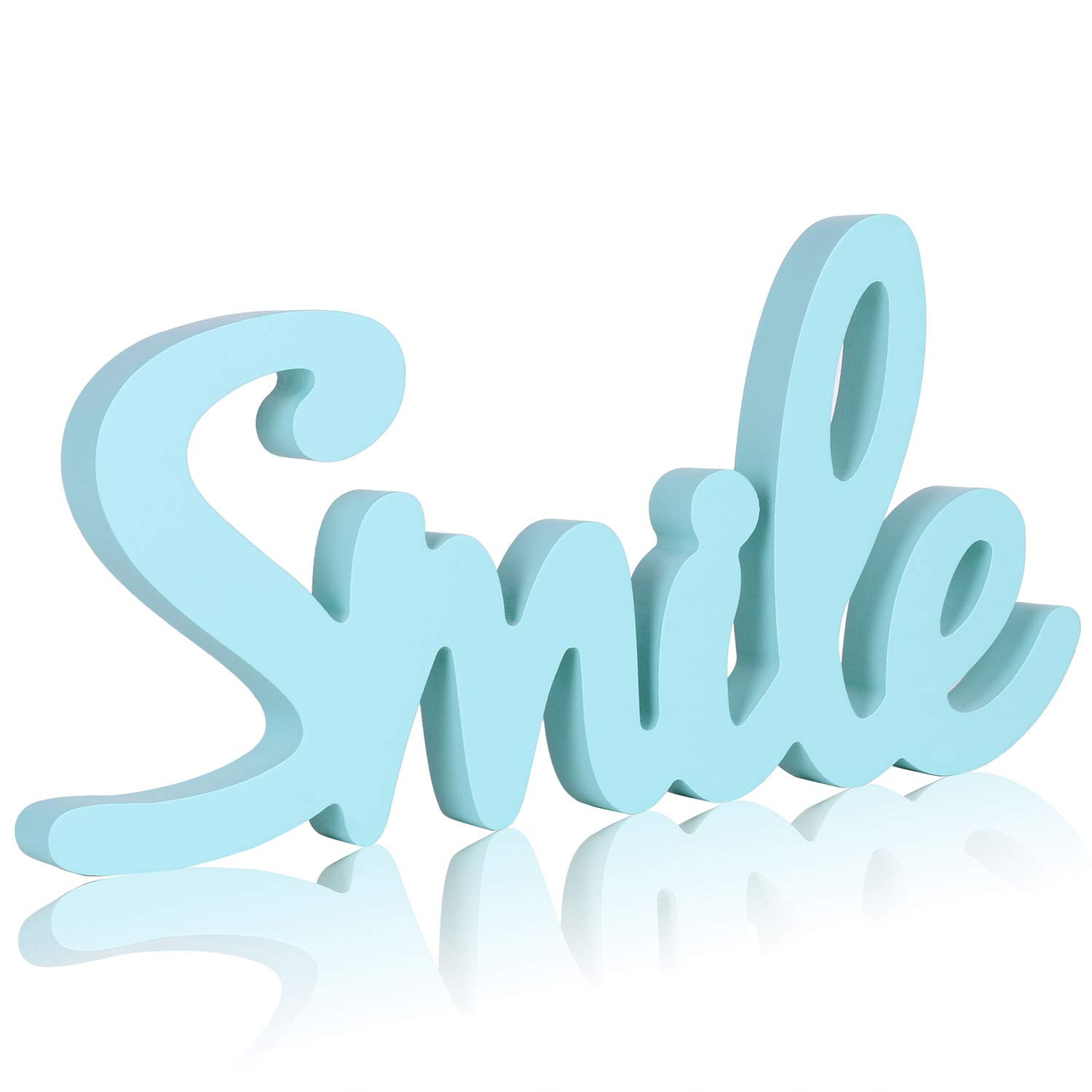 West Beauty Cutout Wood Word Sign Decor, Wood Script Smile Words Decorative Sign Ornament for Desk, Shelf, Cabinet,13.4 x 6.6 inches (Smile)