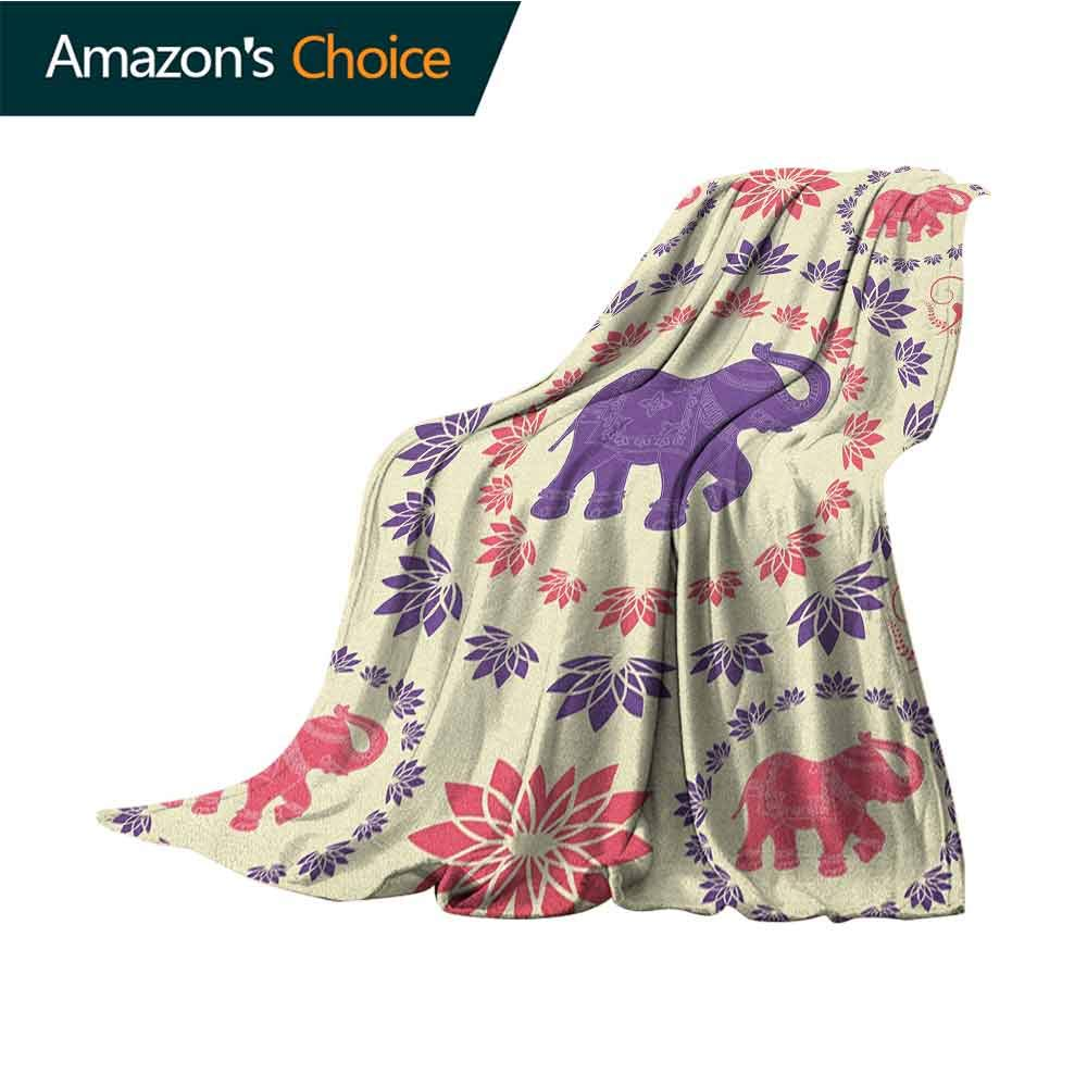 Elephant Plush Blanket,Colorful Elephants Flowers Dancing Animals Festival Traditional Ethnic Art Microfiber All Season Blanket for Bed or Couch Multicolor,50'' Wx60 L Pink Purple Cream