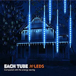 Meteor Shower Rain Lights 30cm, TurnRaise 10 Tubes 300 LEDs Blue Color Drop Icicle Snow Falling String Light, LED Cascading Lights for Wedding Party Christmas Xmas Decoration Tree