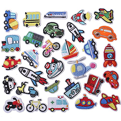 AXEN 30PCS Car Embroidered Iron on Patches DIY Accessories, Assorted Car Decorative Patches, Cute Sewing Applique for Jackets, Hats, Backpacks, Jeans