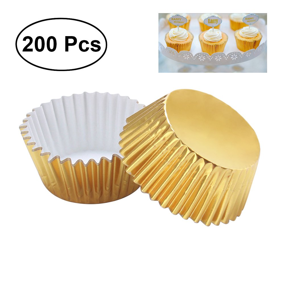 OUNONA 200pcs Thickened Aluminum Foil Cupcake Liners Cake Muffin Molds for Baking (Light Golden)
