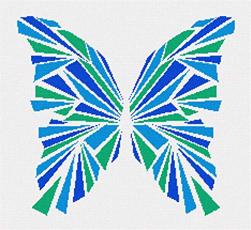 Blue Needlepoint (pepita Butterfly Geometry Blues Needlepoint Kit)
