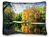 Custom Cotton & Polyester Soft ( Landscapes river autumn trees...