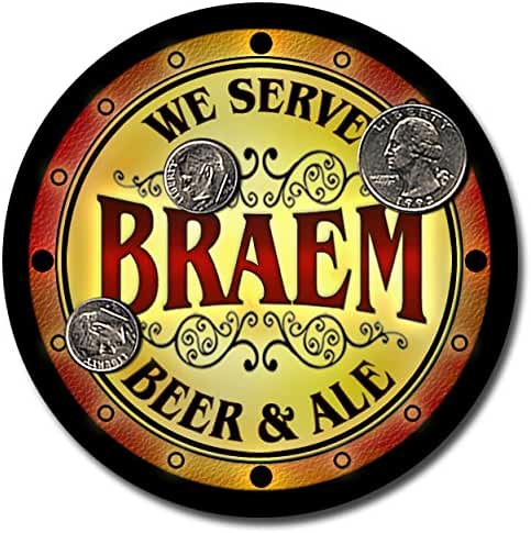 Braem Family Name Beer and Ale Rubber Drink Coasters - Set of 4
