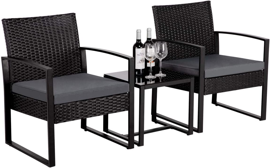 Amazon Com Yaheetech 3 Pieces Patio Furniture Sets Indoor Outdoor Wicker Modern Bistro Set Rattan Chair Conversation Sets Gray Cushion With Coffee Table Garden Outdoor