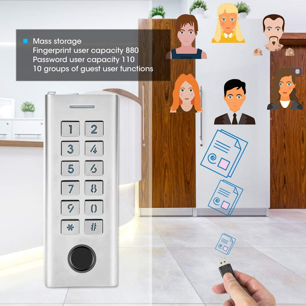 Waterproof Home Security System Smart Door Lock Keyless Door Lock Smart Fingerprint Lock Digital Password Lock Access Control System for Home//Office//School//Flat