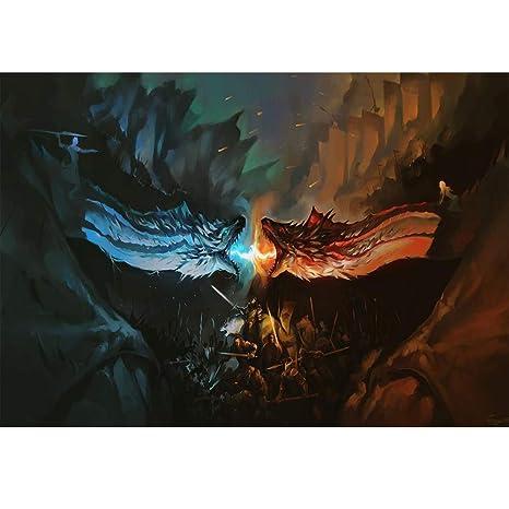 Sfondo Fotografico 7 X 5 Blu Ghiaccio Rosso Fuoco Drago Trono Di