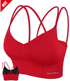 711dfba5c6729 MotoRun Womens Push-up Padded Strappy Sports Bra Cross Back Wirefree  Fitness Yoga Top