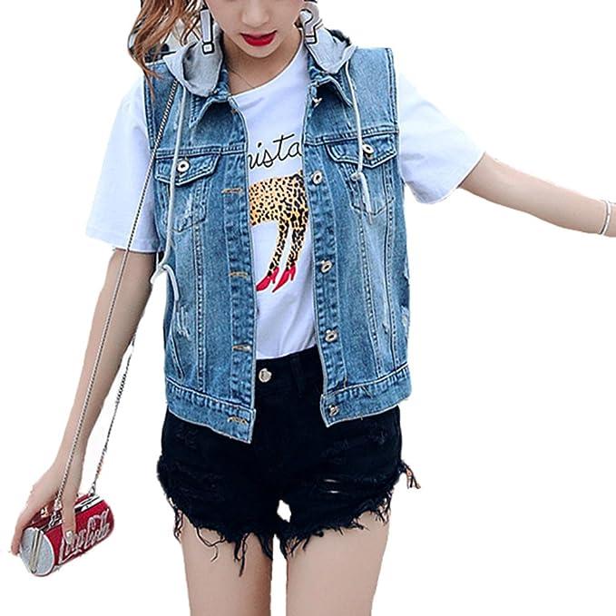 bee5dd4b8b Gilet senza maniche da Donna Casual Giacca Denim Giacche di Jeans ...