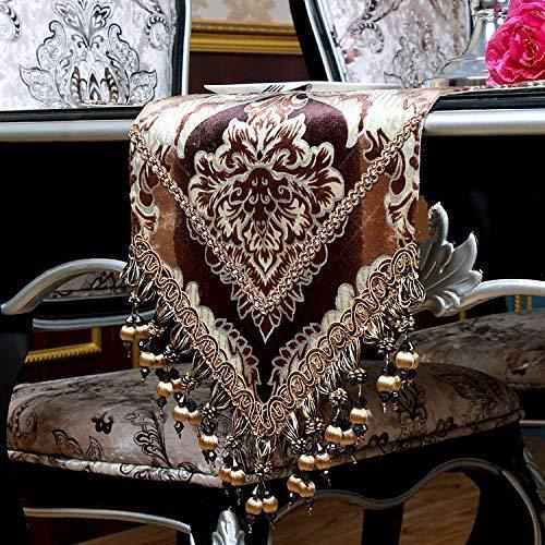 JINGB Home Modern Velvet Pile Table Runner for Dinning/Tea/TV Table with Handmade Little Beads Khaki Gold 72 inch Approx