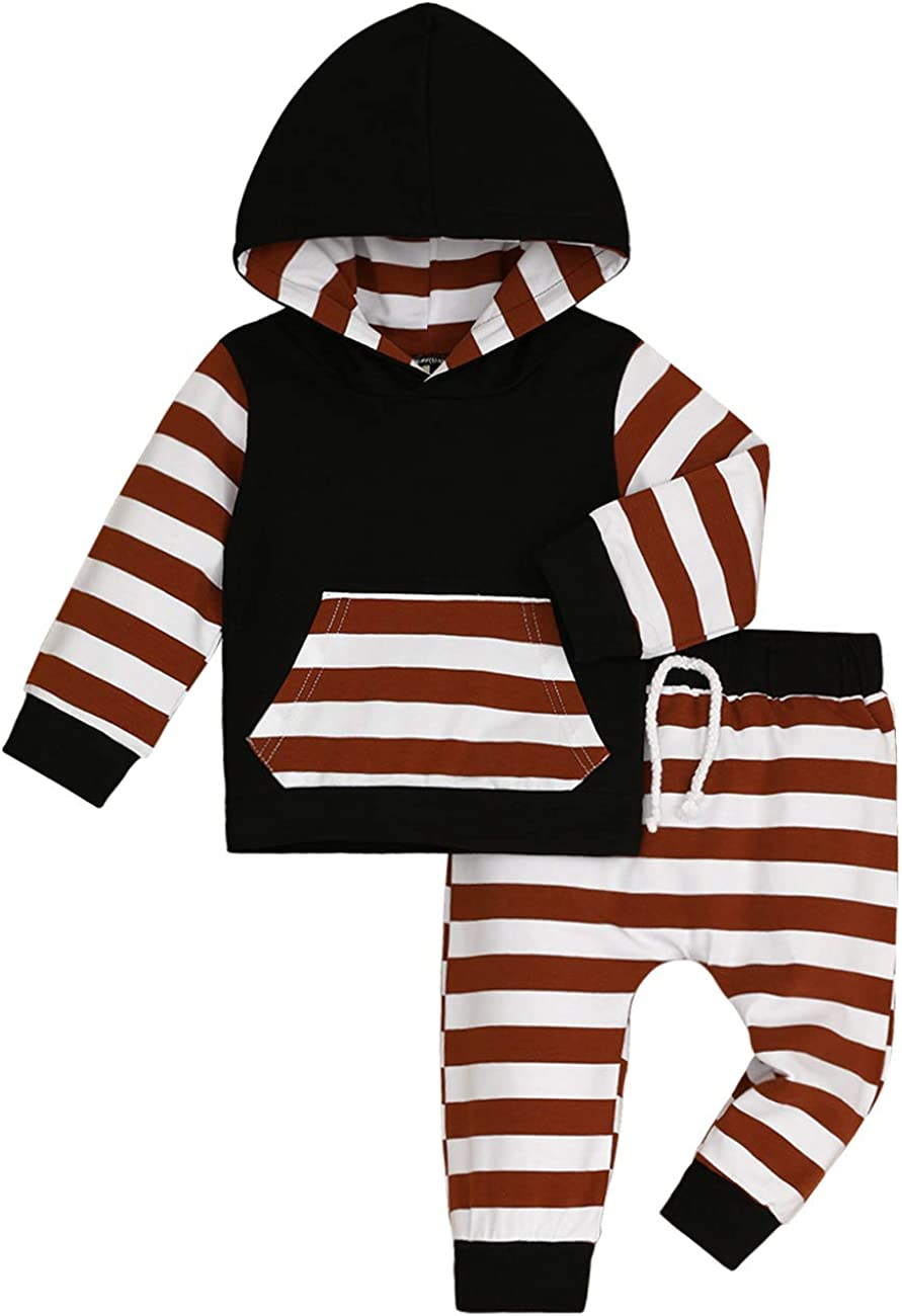 Baby Boys Clothes Long Sleeve Hoodie Striped Tops+Pants Sets Outfits with Ears