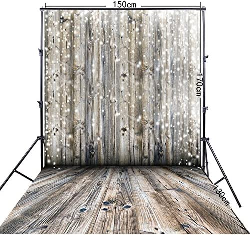 FiVan 5x10ft Wood Floor and Snow Print Photography Background FF-028