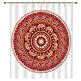 iPrint Shower Curtain,Elephants Decor,Round Pattern with Decorated Elephants Meditation Faith India Tribal,Polyester Shower Curtains Bathroom Decor Sets with Hooks