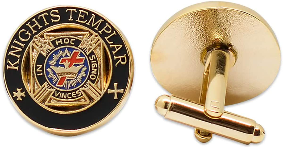 Knights Templar Masonic Cuff Link Pair - [Black & Gold][3/4'' Diameter]