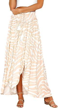 Mujer Faldas Largas Verano Impresión Cintura Alta Dobladillo ...