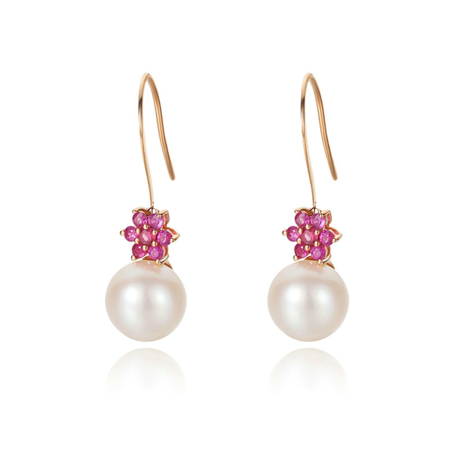 Daesar Rose Gold Earrings 18K Stud Earrings for Women Flower Pearls Dangle Earrings Wedding
