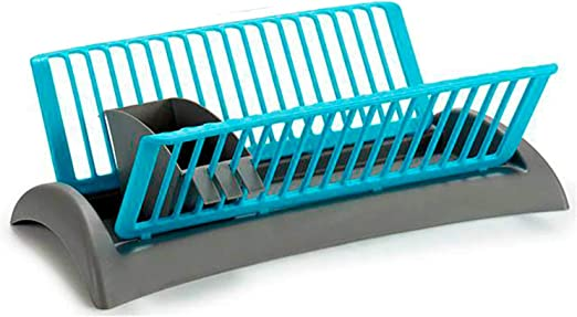 Capacidad hasta 18 Platos TENDENCIA /ÚNICA Escurreplatos de pl/ástico Cubertero extra/íble con 2 Compartimentos Az/úl y Gris