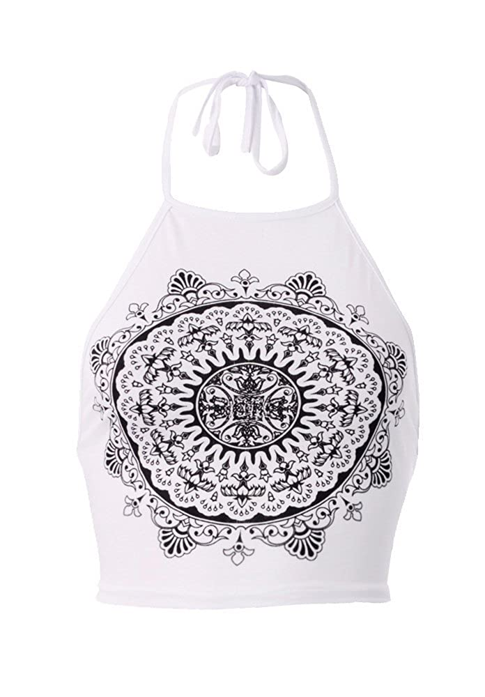 Forever Womens Celebrity Inspired Mandala Print Halterneck Crop Top Made In UK