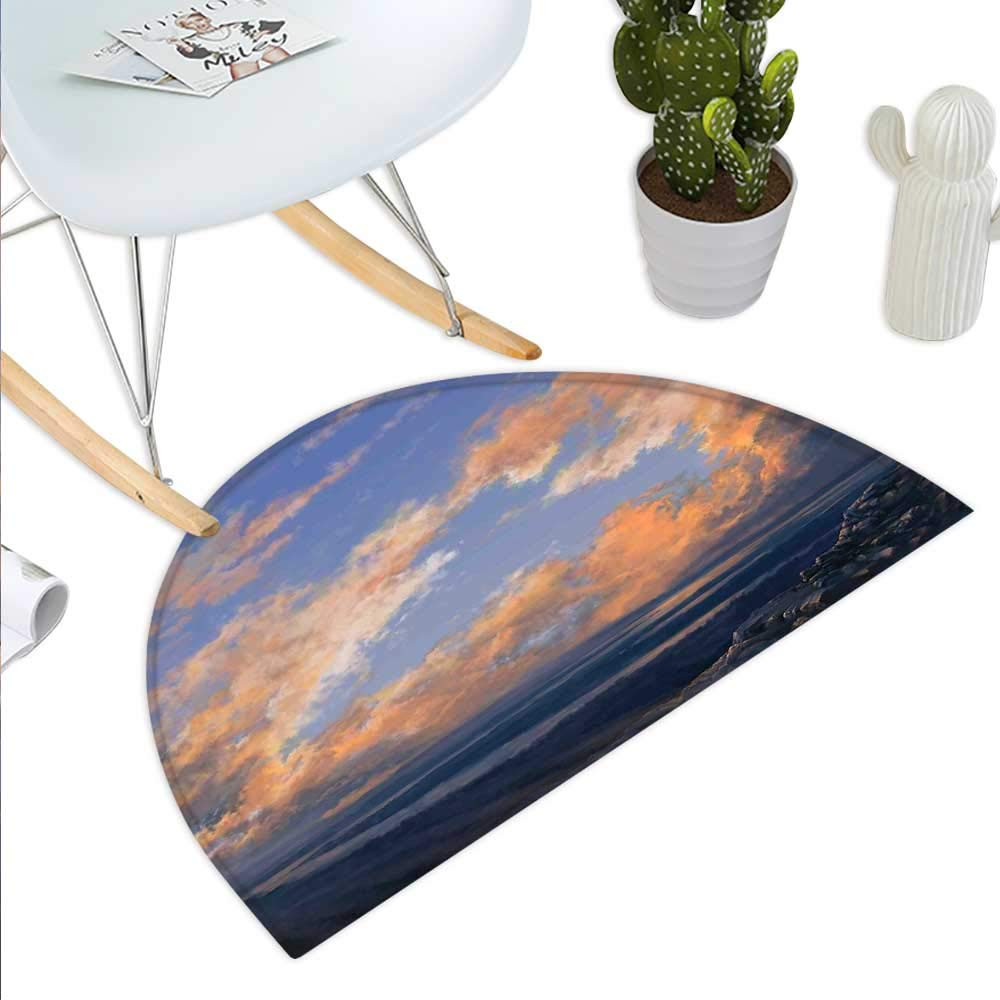 color06 H 27.5  xD 41.3  Science Room Decor Semicircle Doormat Planet Landscape View from A Beautiful Beach Halfmoon doormats H 27.5  xD 41.3  Decorative