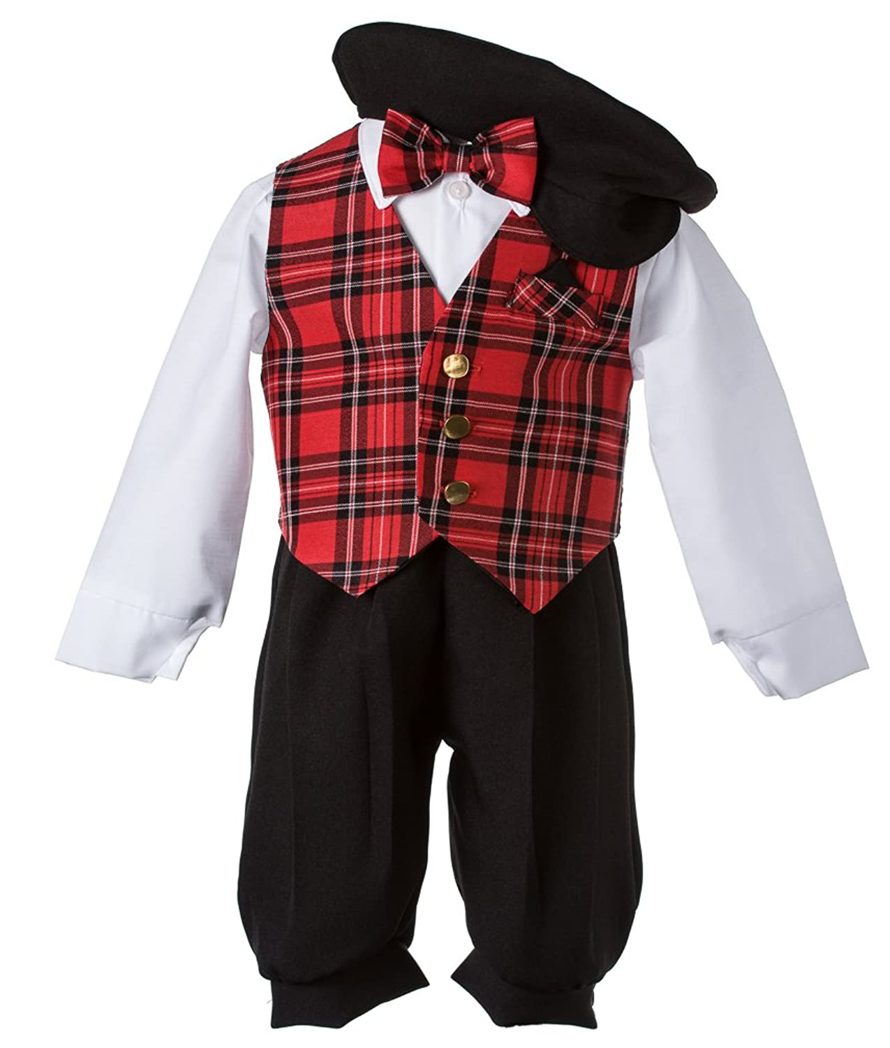 Kids 1950s Clothing & Costumes: Girls, Boys, Toddlers Tuxgear Baby Vintage Black Knickers Set with Holiday Red Plaid Bow Tie & Vest $23.89 AT vintagedancer.com