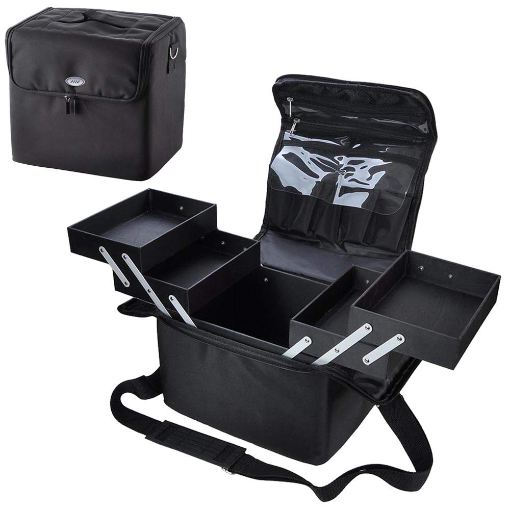 210D Black Soft Makeup Train Bag Case Pockets Artist Cosmetic Handbag w Strap