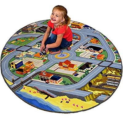 "Fun field City 51"" Round Play Rug - Roads, a Train Station, Fire Station, Playground, Store and So Much More - By Creative QT"