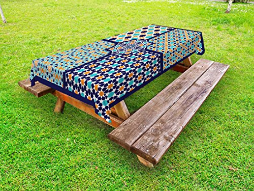 Ambesonne Arabian Outdoor Tablecloth, Different Asian Ornate Mosaic Patterns Historical Lines Heritage Culture, Decorative Washable Picnic Table Cloth, 58 X 104 inches, Blue Orange White by Ambesonne