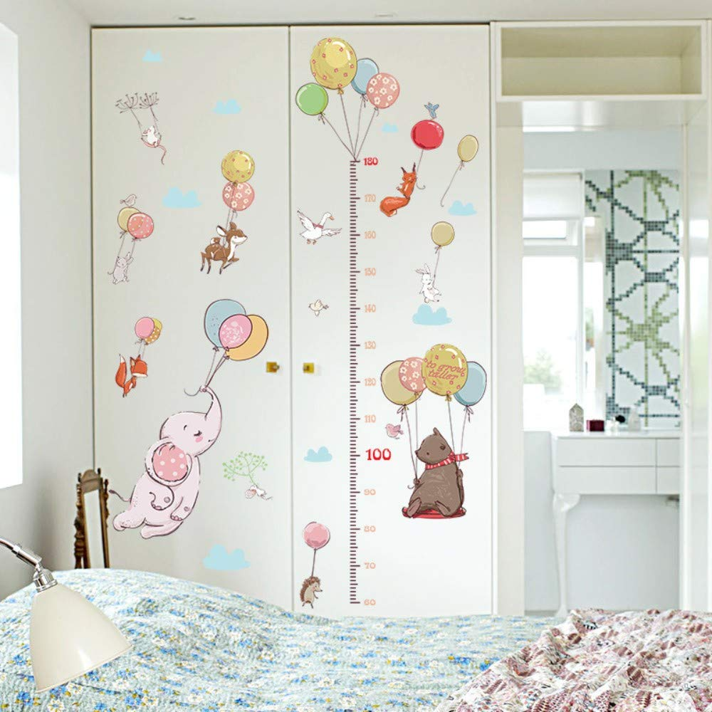 Amazon.com: Bdhnmx Creative Balloon Animal Child Height Measurement Wall Sticker Child Bedroom Wardrobe Fox Rabbit Growth Up Chart Ruler for Home: Baby