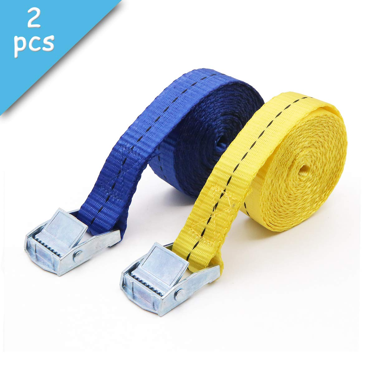 2 Pack of 6.5 Foot Cam Buckle Lashing Straps(Blue and Yellow) Tie Down Straps for Carriers Luggage Cargo Dawa