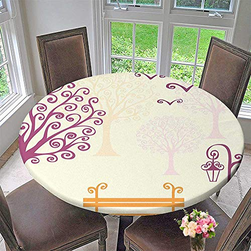 Mikihome The Round Table Cloth Decor Pastel Color Nature Picture Curving Lines Seagulls Bench and Tree Silhouettes Park for Birthday Party, Graduation Party 43.5