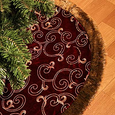 """Valery Madelyn 48"""" Woodland Christmas Tree Skirt Themed with Christmas Ornaments"""